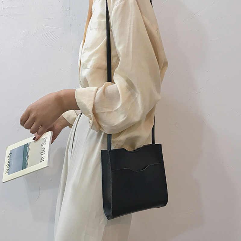 Bolsos de mano para mujer, monedero, bolso cruzado informal sencillo, Color sólido, correa de hombro, bolso de cubo