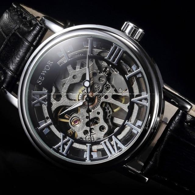 Фото модные повседневные мужские часы sewor скелетоны механические