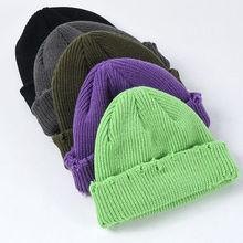 Men Women Winter Chunky Ribbed Knitted Hat Vintage Frayed Distressed Brim Bright Solid Color Cuffed Foldable Snow Ski Beanie Cap