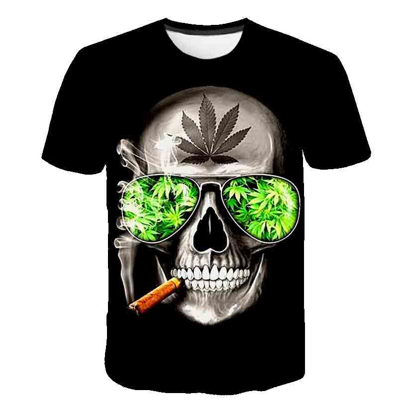 Summer men's T-Shirt New 3D printing t-shirt men's skull devil T-shirt Street casual printing T-shirt Summer Black T-Shirt round