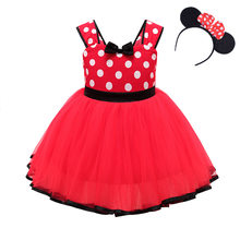 Baby Girls Minnie Mickey Princess Dress kids Polka Dots Summer Dress with Mouse Ear Headband Carnival Birthday Party Costumes(China)