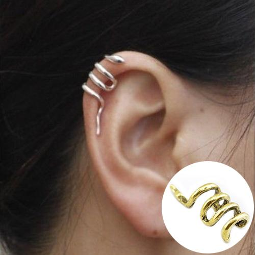 Women Unique Mini Snake Shape Cuff Wrap Ear Clip Punk Earring Jewelry Stud Earrings Simple Round Circle Small Ear Stud XmasGift