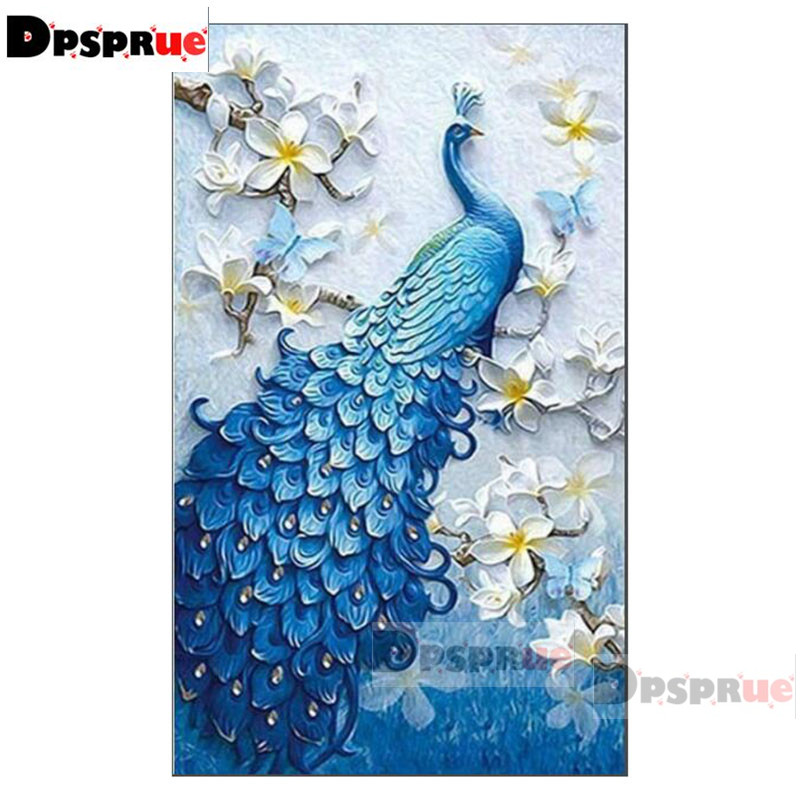 Dpsprue Full Square Round Diamond Painting Kit Cross Stitch Beautiful peacock Diamond 3D Embroidery DIY 5D Moasic Gift DP5227 in Diamond Painting Cross Stitch from Home Garden