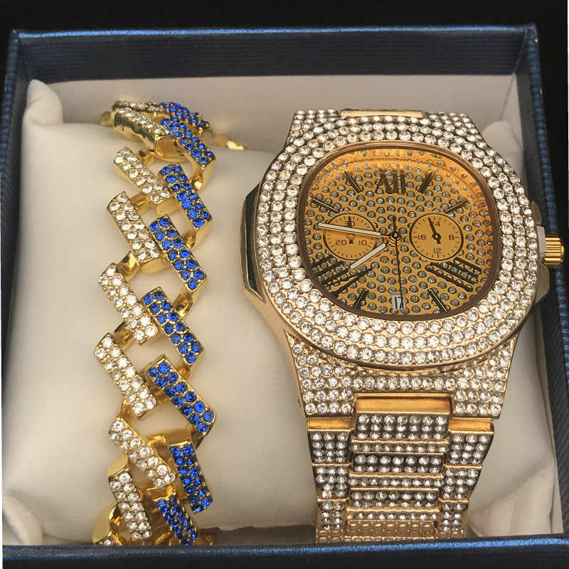 יוקרה זהב היפ הופ תכשיטים אופנתי שעון שרשרת קומבו סט שעון יהלומי גברים אייס מתוך תליון גברים רוק שרשרת שרשרת