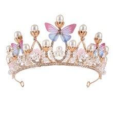 Корона принцессы с кристаллами, тиара ручной работы с жемчугом и стразами для девочек, модель на день рождения, подиум, модные детские аксес...