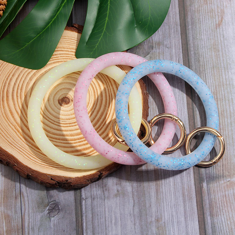 JUST FEEL New Silicone Shiny Sequin Keychain Bracelet Round Clasp Fashion Car Keychain Pendant Wrist Strap Accessories