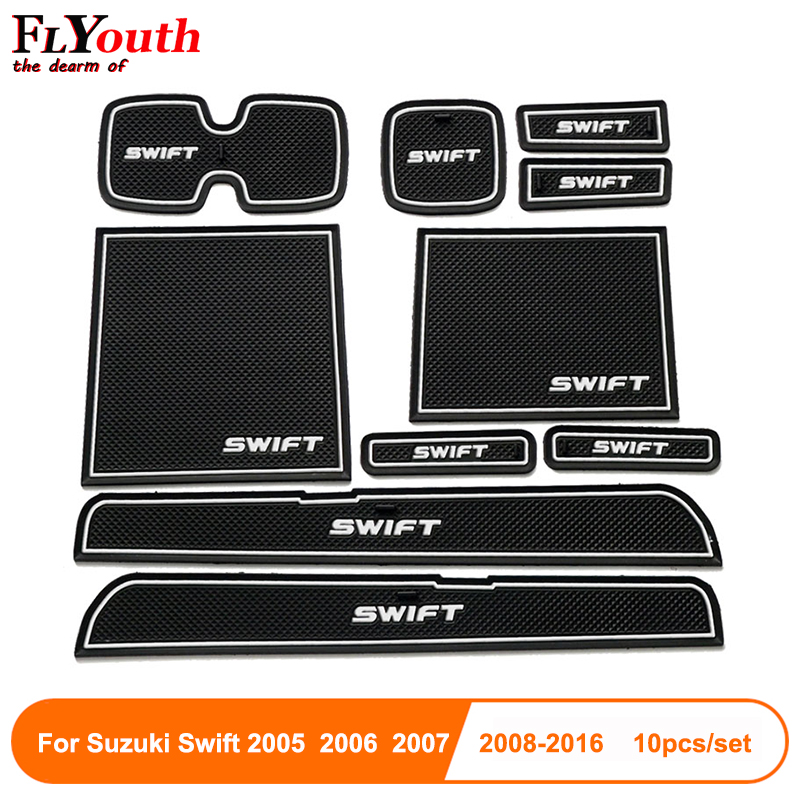Newest Fit For Suzuki Swift 2005 To 2016 Anti-Slip Car Door Groove Mat Latex Non-Slip Mats Interior Cup Pad Car Styling 10pcs