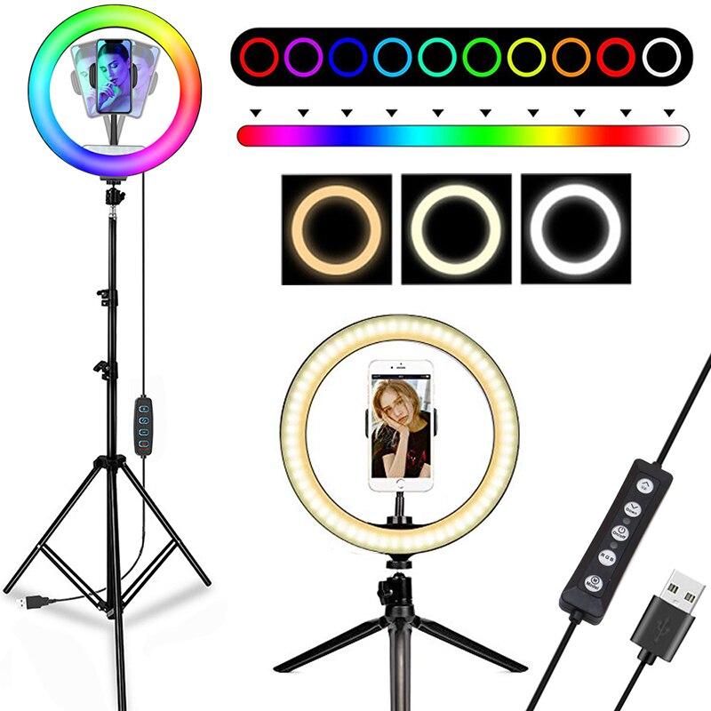 Светодиодный кольцевой светильник с регулируемой яркостью, RGB светильник для видеосъемки с подставкой и штативом, 160 см, лампа для держателя...