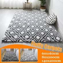 Tapis doux en peluche tapis salon longue peluche ovale tapis Shaggy zone losange motif tapis Shag tapis de sol pour chambre 3 tailles