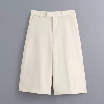 New 2020 women solid color kneeth length pants female casual slim pocket straight trousers office wear pantalones mujer P611