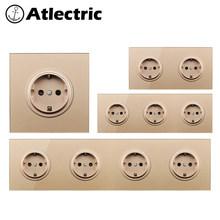 Atlectric Crystal Glass Switch EU/DE/RU 16A Socket Wall Socket Crystal Glass Panel 110-250V Wall Power Socket Outlet