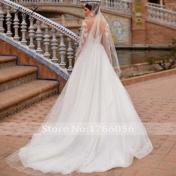 Fmogl Vestidos De Noiva Long Sleeve Lace Princess Wedding Dress 2021 Sexy Illusion Applique Beaded Court Train A Line Bride Gown 2