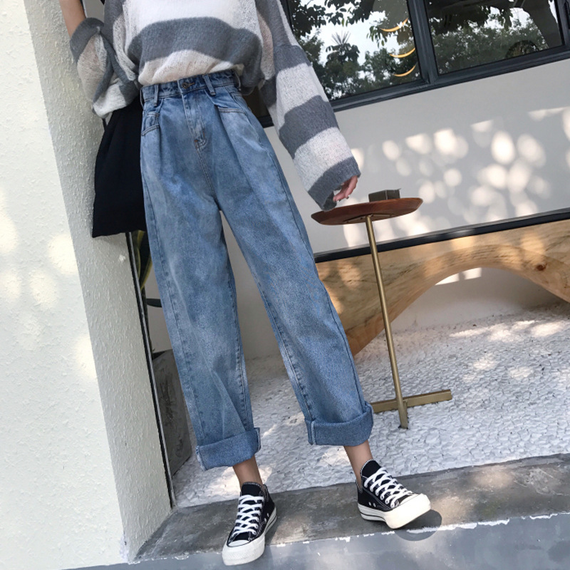 High-waisted Slimming Jeans WOMEN'S Dress 2019 Spring New Style Loose-Fit Straight-leg Pants Washing Retro Students Versatile Tr