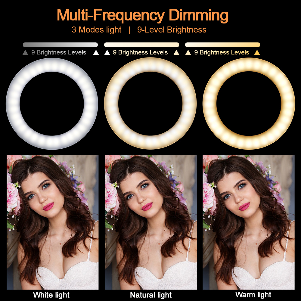 "Image 5 - LED Ring Light 2700K 5500K 12W Photo Studio 10"" Flash Light Photography Dimmable Lights Video for Smartphone with Tripod-in Novelty Lighting from Lights & Lighting"