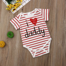 Newborn Infant Baby Boy Girls Clothes Striped Letter Pattern Cotton Romper Body Suit Jumpsuit Outfits