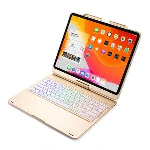 Image 3 - Housse de protection avec clavier, pour iPad Pro pivotant à 12.9 à 2018 degrés, rétroéclairage LED sans fil Bluetooth, avec clavier russe, espagnol et hébreu