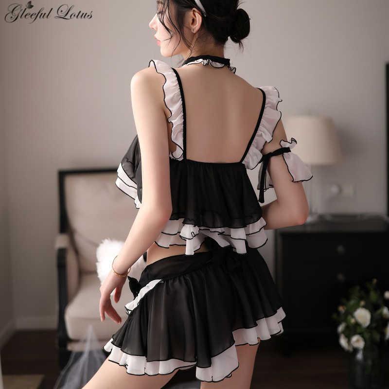 סקסי אנימה תלבושות קוספליי אשת חתול תלבושות משחק תפקידים חמוד פנטזיה סקסי הלבשה תחתונה סט 7 חתיכות Clubwear נשים Kawaii הלבשה תחתונה