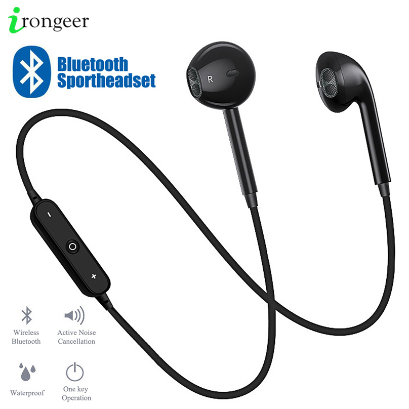 S6 Wireless Bluetooth Earphones Bass Loudly Headset Neckband Sport Stereo In-Ear With Microphone Call Volume Control For Phone