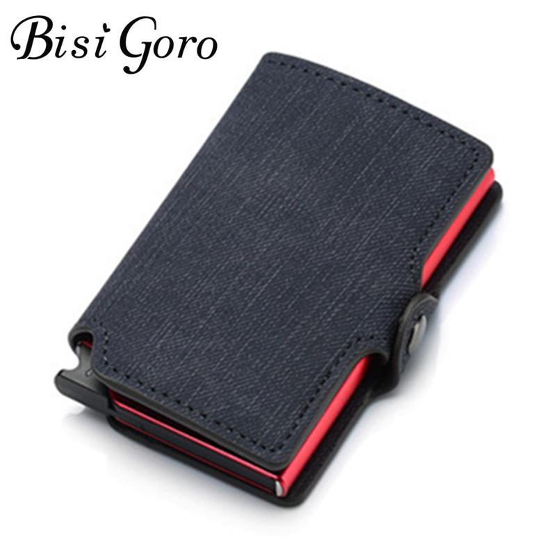 BISI GORO 2019 Credit Card Wallet New RFID Blocking Slim Card Holder PU Single Aluminum Box Business Hasp Card Case Slim Wallet