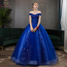 Ball-Gown Quinceanera-Dresses Royal-Blue Celebrity Sweetheart Off-Shoulder Lace Long