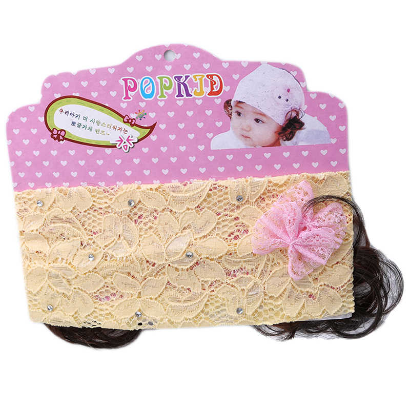 1pc Mode Mädchen Spitze Perücke Haarband Baby Stirnband Verpackung kinder Party Baby Haar Zubehör Stirnband Kopfschmuck