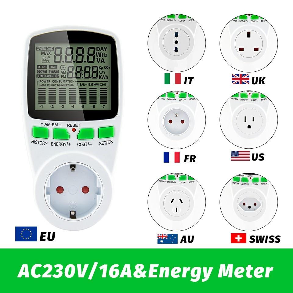 Smart AC Power Meter Wattmeter Billing Socket Energy Meter KWh Voltage Current Frequency Electricity Monitor EU/US/UK/AU/FR Plug
