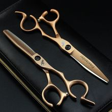 Professional Hairdressing Cutting Scissors 6 Inch Thinning Shears Salon Barbers JP440C Gold Hair Tesouras