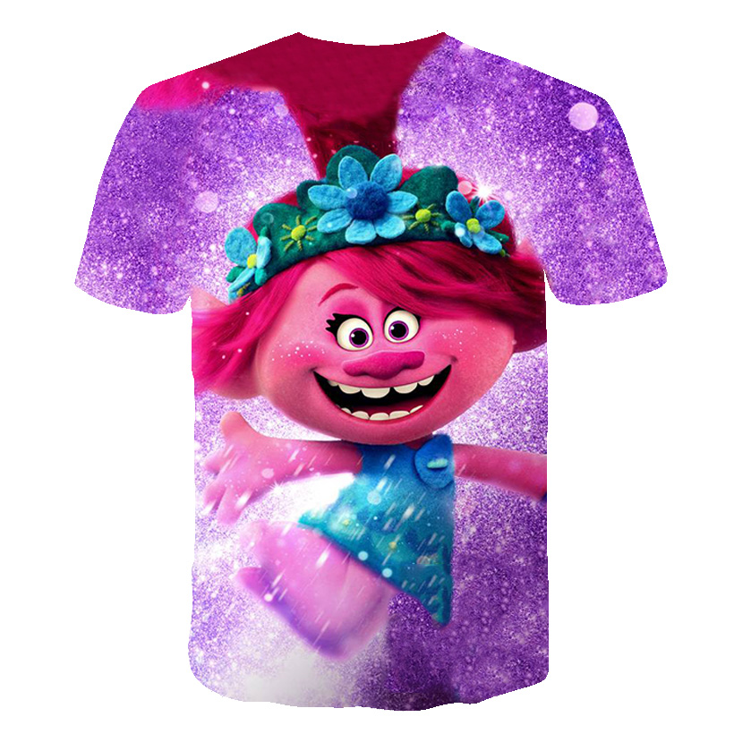2020 Movie Children Cartoon Trolls Print Funny T-Shirts Kids Summer Tops Boys/Girls Short Sleeve Clothes Casual Baby Tee Shirt