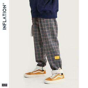 Image 1 - אינפלציה מותג רטרו משובץ צמר גברים מכנסיים Harajuku Loose ישר מקרית גברים מכנסיים 2020 AW רחוב סגנון זכר מכנסיים 93362W
