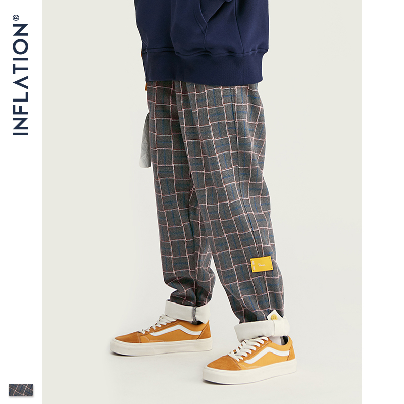 INFLATION BRAND Retro Plaid Wool Men Pants Harajuku Loose Straight Casual Men Pants 2019 AW Street Style Male Trousers 93362W