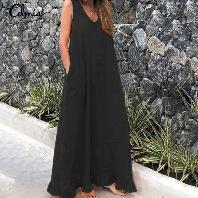 Celmia Women Maxi Sundress Bohemian Sexy V neck Summer Dress Sleeveless Casual Loose Linen Long Shirt Ruffles Vestidos Robe 5XL