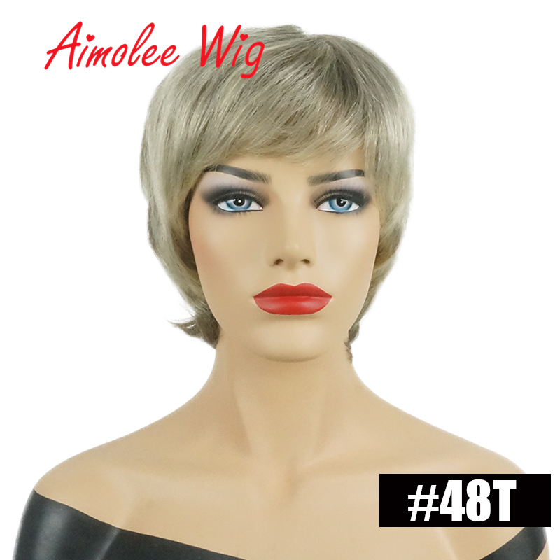 Women's Wigs Ombre Short Fluffy Layered Natural Blend 70% Human Hair Synthetic Hair Wig With Bangs Party Work Wigs
