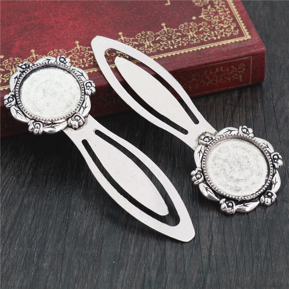 New Fashion 2pcs 20mm Inner Size Antique Silver Plated Simple Style Handmade Bookmark Cabochon Base  Cameo Setting (H1-11)