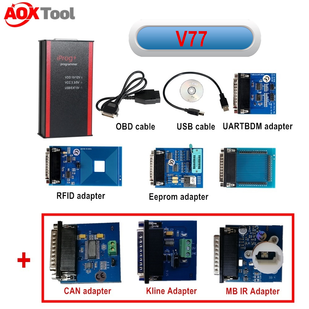 Iprog+ Iprog Pro With IR MB Adapter For Odometer Correction Tool Mileage Adjustment Car Key Programmer Airbag Reset Tool