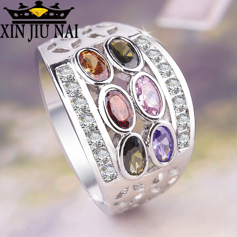 Mystery Female Rainbow Oval Ring Boho 925 Silver CZ Stone FingerOlive Green Ruby Sapphire Inlay Ring Vintage Party For Women