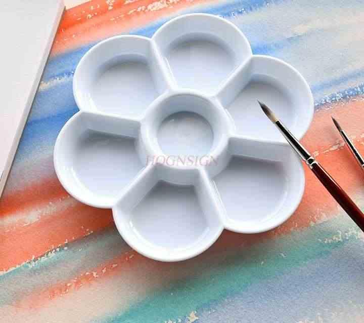 Acquerello tavolozza plum piatto addensato imitazione di ceramica palette facile da lavare goccia resistente vernice pittura palette