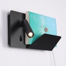 Zerouno lâmpada de parede led livro luzes cabeceira cabeceira cama livro lâmpada leitura flexível cabeça carregador sem fio usb prateleira do telefone lampada