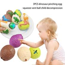 3PCS Dinosaur Pinch Egg Squeeze Vent Ball Child Decompression Hatching Egg Water Ball Squeezing Music Decompression toy(China)