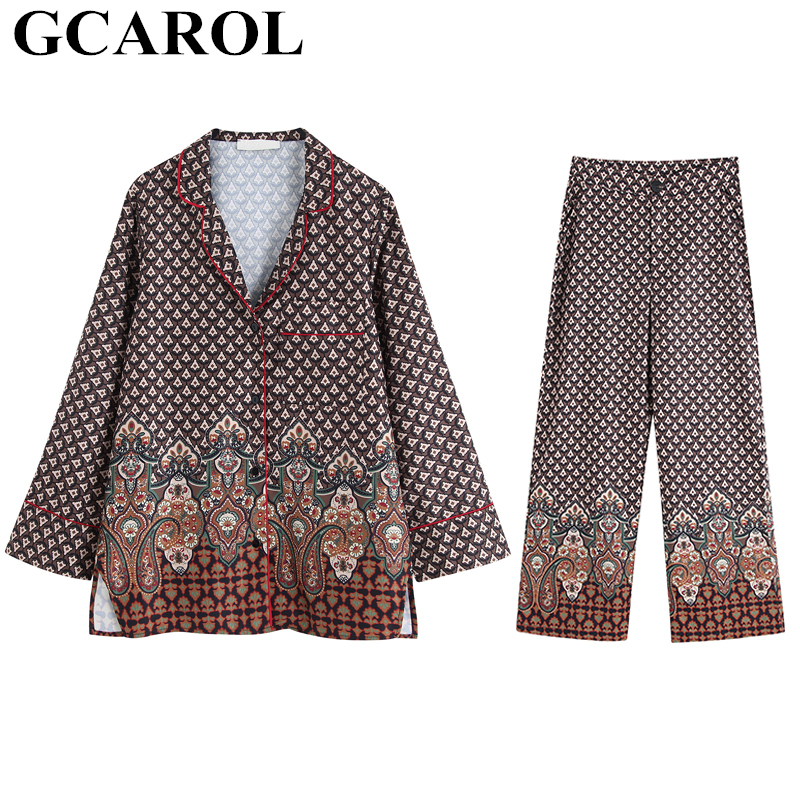 GCAROL New Fall Spring Women'sets Totem Floral Geometry Blouse And Pants Pajama Style 2 Pieces Sets