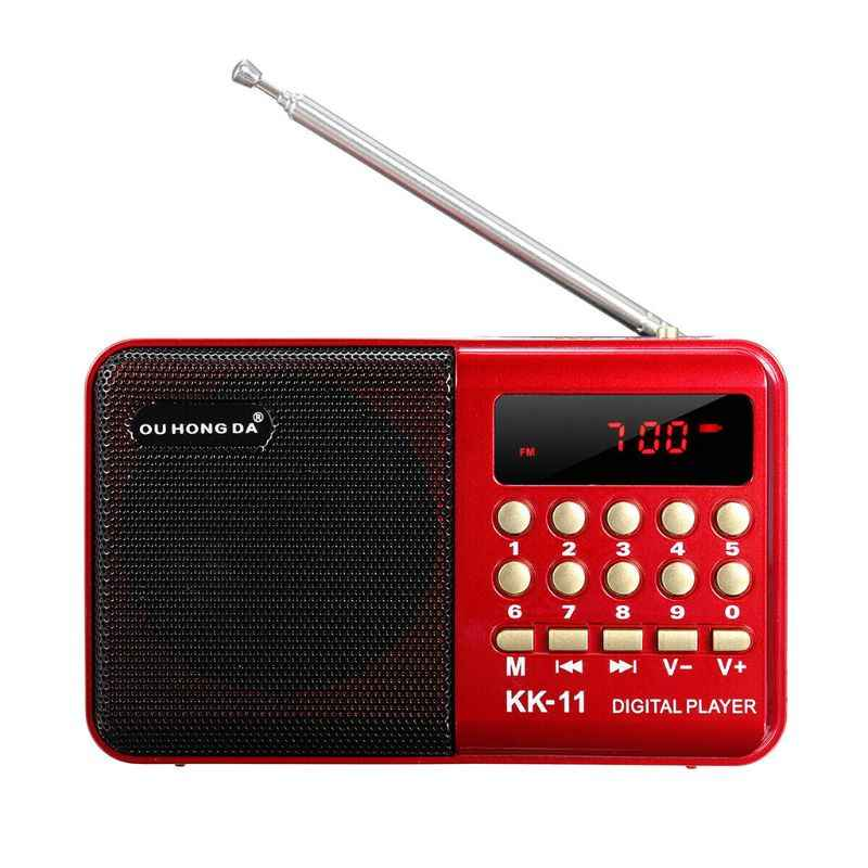 Mini portátil de mano K11 Radio multifuncional recargable Digital FM USB TF MP3 reproductor altavoz dispositivos suministros