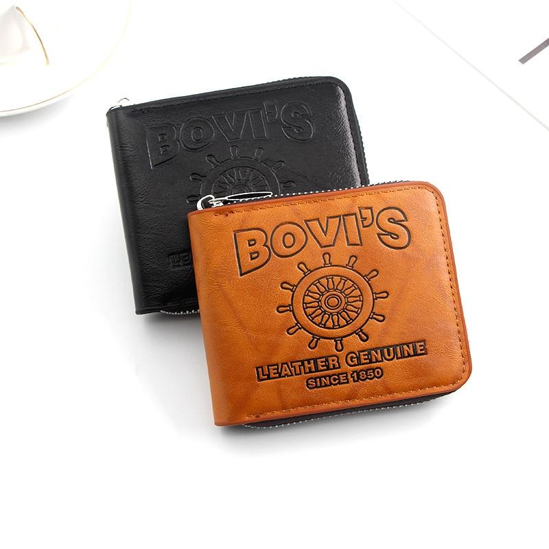 New zipper men's short wallet retro European and American style large capacity multi-card wallet men wallets purse mens wallets