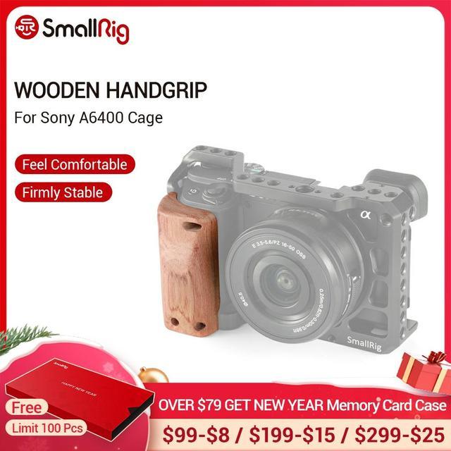Petite Cage de caméra a6400 poignée en bois pour Sony A6400 poignée en bois à dégagement rapide 2318