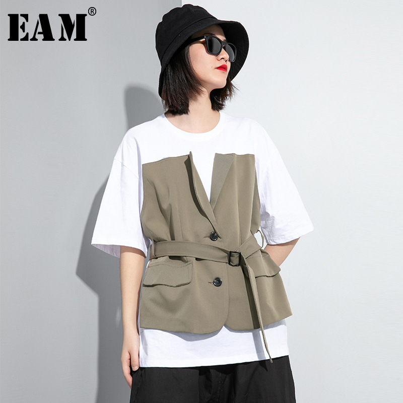 [EAM] Women Green Bandage False Two Big Size  T-shirt New Round Neck Half Sleeve  Fashion Tide  Spring Summer 2020 1U024