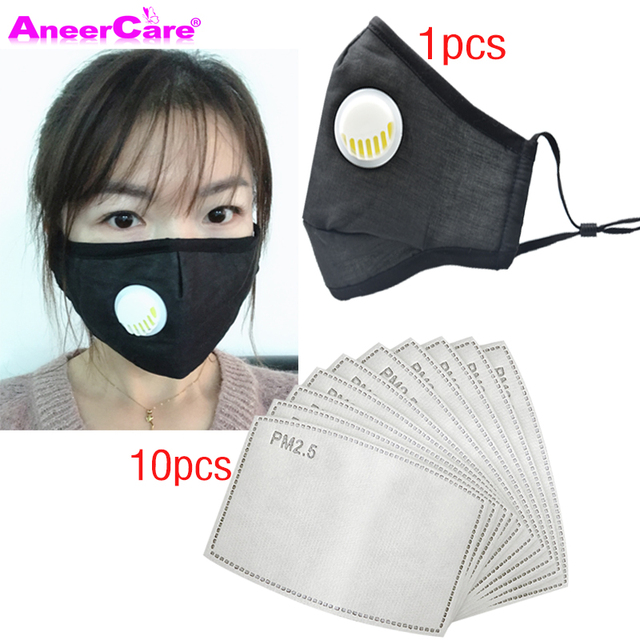 dust respirator face mask carbon filter mask PM2.5 1Mask+10 Filter N95 Respirator Mask reuse flu face masks air pollution