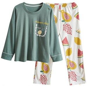 Image 5 - PLUS ขนาด 4XL หลวมบ้านเสื้อผ้าฤดูใบไม้ร่วงฤดูใบไม้ผลิใหม่ชุดนอนผ้าฝ้าย 100% คุณภาพสูงผู้หญิงชุดนอนชุดเสื้อผ้า