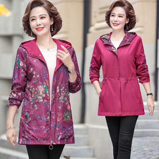 2020 Women Jacket Two Side Wear Female Jacket New Autumn Emboridery Coat Plus Size Hooded Windbreak Zipper Jacket Coats Pocket 1