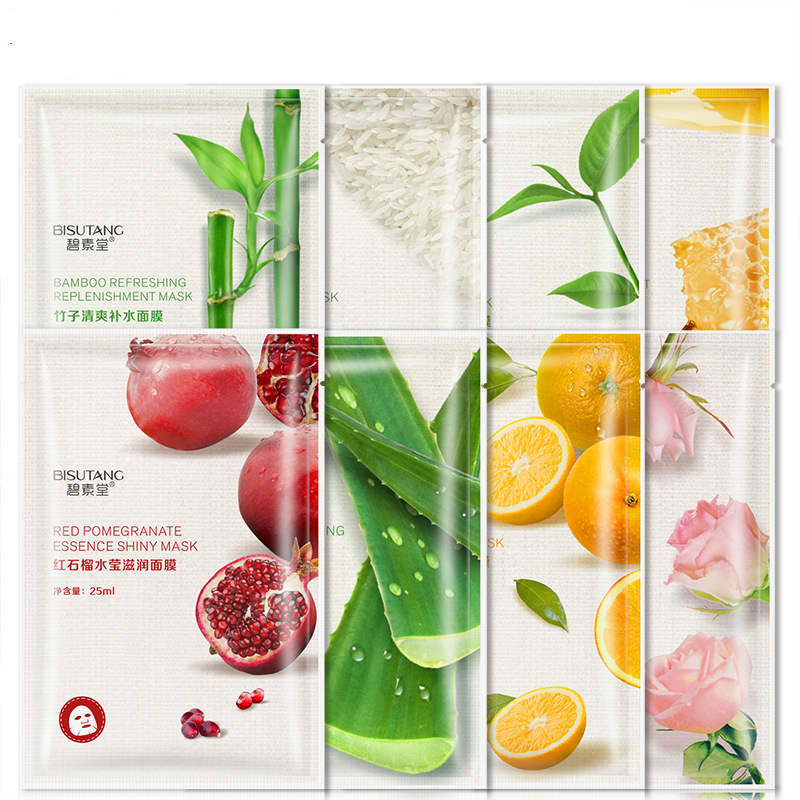 Fresh Orange Aloe Rice Pomegranate Bamboo Rose Green Tea Honey Moisturizing Water Face Mask Facial Mask
