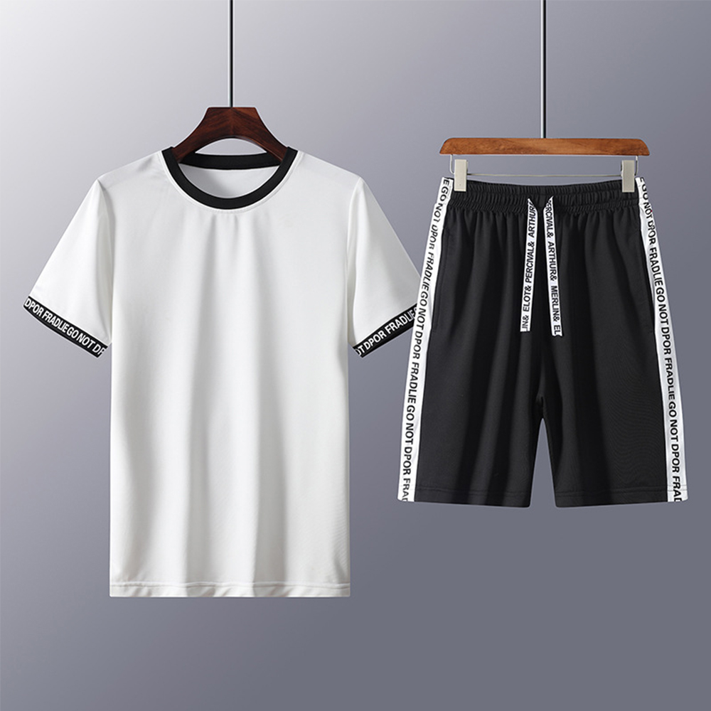 Summer Casual Men's Loose Round Neck Black And White Short Sleeve T-shirt Five Pants Sports Suit Men's Sports Two Piece Set