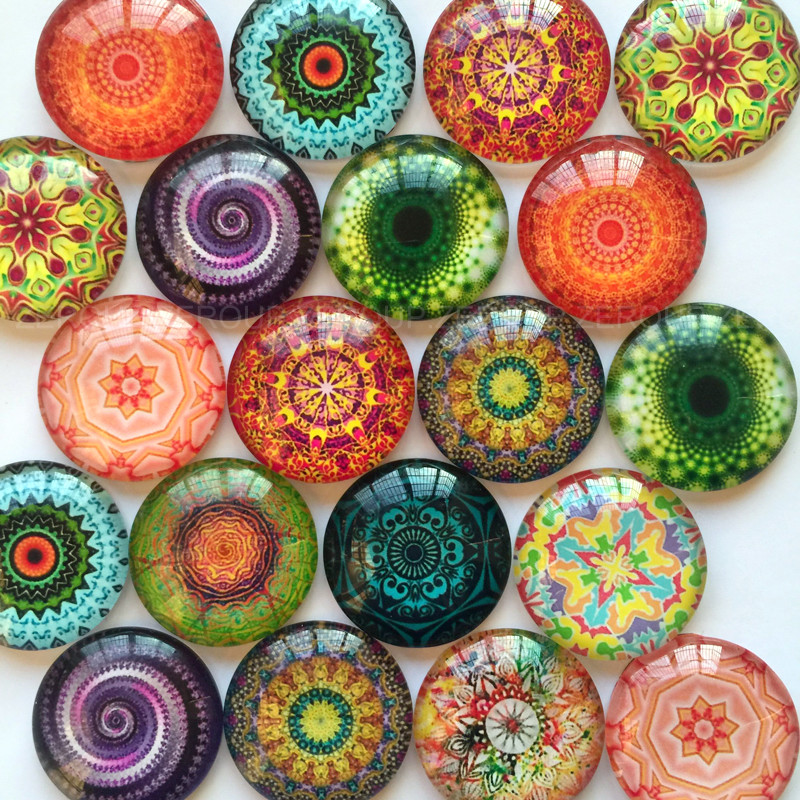 20mm 25mm Round Photos Glass Cabochon Mixed Pattern fit Cameo Base Setting Jewelry Components 10pcs/lot TP-002 title=