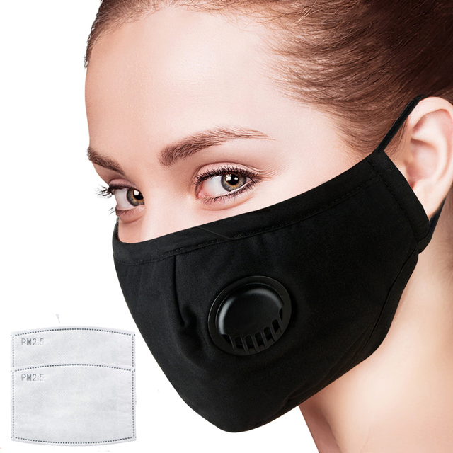 Masks Black Cotton Mouth Face Mask with Activated Carbon Filter Windproof Mouth-muffle for Men Women Black Fashion Riding Mask